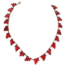 Early 1900s Red Step Glass Czech Necklace