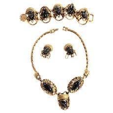 Vintage Selro Nubian Necklace Bracelet Earrings