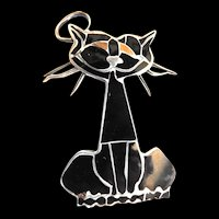 Whimsical Vintage sterling 925 and Enamel Kitty Brooch 60s