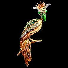 Florenza Exquisite Bird Brooch 1950s