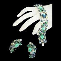 High end Designer Att Glass Bracelet and Earrings