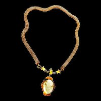 Victorian Carved Shell Cameo Mesh Necklace