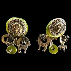 Call of the Wild Vintage Earrings Elephants
