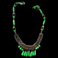 Exquisite Czech Drippy Necklace Early 1900s