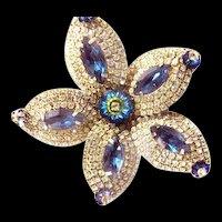 Hobe Sapphire Blue rhinestone Huge Brooch