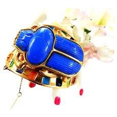 Vintage Scarab Egyptian Revival Cuff Bracelet