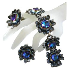 Fabulous Judy Lee Shades of Blue Watermelon Chunky Vintage Bracelet and Earrings