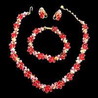 Return to Elegance Trifari Ruby Red Necklace Btacelet Earrings 50s