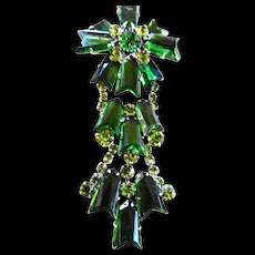 Gargantuan Austrian Drippy Emerald Green Brooch and Earrings