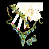 Spectacular Juliana Pillow  Parure Necklace Bracelet Earrings Brooch