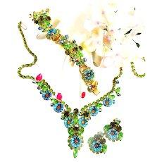 Spectacular Juliana Pillow  Parure Necklace Bracelet Earrings Brooch