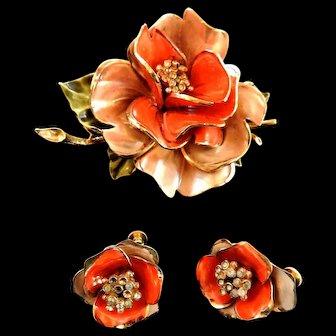 Fabulous Vendome Enamel Flower Brooch and Earrings c. 50s