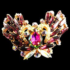 Watermelon and Amethyst Vintage 50s Butterfly Brooch