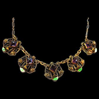 Early 1900s Czech Necklace with enameled Leaves