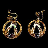 Early 1900s Czech Circular Amethyst and Enamel Rhinestone Earrings