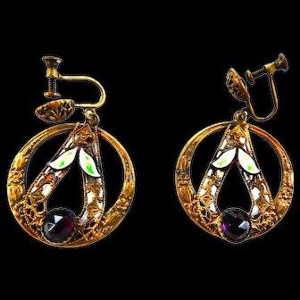 Early 1900s Czech Circular Amethyst and Enamel Rhinestone Earrings