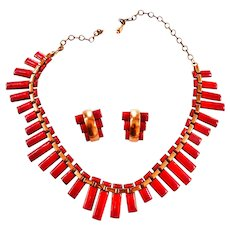 Mid Century Modern Matisse Peter Pan Necklace and Earrings