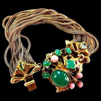 Spectacular Neiger Czech Mogul Cabochon Jeweled Bracelet