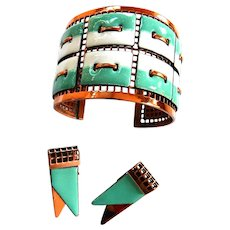 Matisse Tapestry Turquoise and White Enamel Copper Matisse Set
