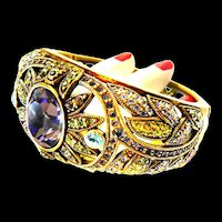 Exquisite Designer Clamper Bracelet  Multiple stones