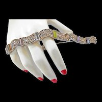 Exquisite Art Deco Style 925 Sterling with Amethyst Citrine sapphire Baguettes Bracelet