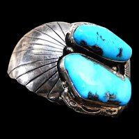 Spectacular Navajo Massive Turquoise Sterling Silver Cuff Bracelet