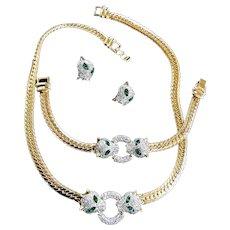 Sensational Snow Leopard Necklace Bracelet Parure must C