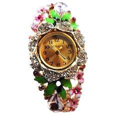 Springtime Enamel Flower Wrist Watch Vintage