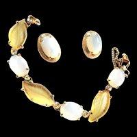 Vintage Schiaparelli Faux Opal Bracelet and Earrings Leaf Design