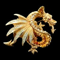 Must C Vintage Dragon Schrader Broochwith Faux Pearls