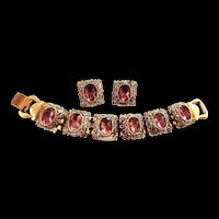 Fabulous High End Designer Amethyst Rhinestone Vintage Demi Parure Bracelet Earrings