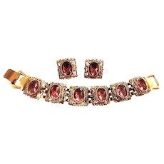 Fabulous High End Designer Amethyst Rhinestone Vintage Demi Parure Bracelet Earrings