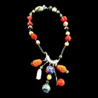 Vintage Chinese Charm Necklace Jadeite Carnelian Cloisonea