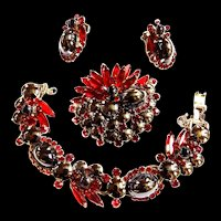 Juliana Hematite cabachon  and Navette Bracelet Earrings Brooch