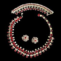 Breathtaking Kramer Necklace Bracelet Earrings Redand Ice Must C