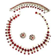 Breathtaking Kramer Necklace Bracelet Earrings Ref and Ice Must C