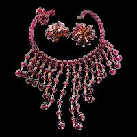 Jaw Dropping Gorgeous Cherry Amber Waterfall Vintage Necklace Collar and Earrings