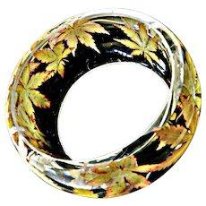 Vintage Lucite Cuff Designer Reverse Autumn Leaves Mid Century