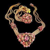 Exquisite Designer Amethyst and Rose necklace and Bracelet