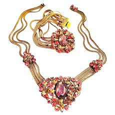 Exquisite Designer Amethyst and Rose necklace and Bracelet