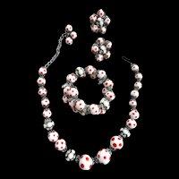 Hobe Polka Dot Necklace Bracelet Earrings Vintage