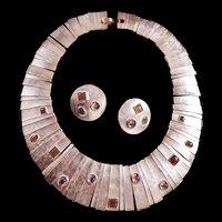 Fabulous Egyptian Revival Collar and Earring Set Designer