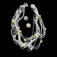 Gorgeous Multi Strand Seed Bead and Glass Bead Vintage Necklace 40s