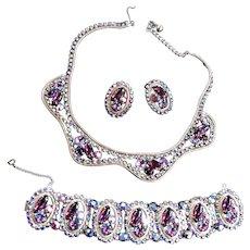 Spectacular Designer Amethyst Necklace Bracelet Earrings 50s