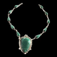1940s Mexican Malachite Carved Necklace