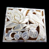 Gorgeous Vintage Mother of Pearl Sculpted Powder Compact