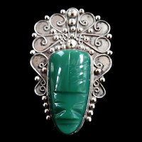 Fabulous 1940s Mexican Sterling Filigree Malachite Brooch