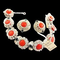 Gorgeous Hobe 1965 8 panel Bracelet ad Earrings