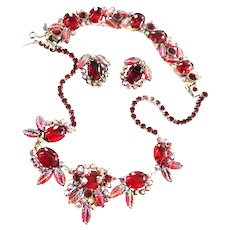 Show Stopping Juliana Red Cabochon Parure Necklace Bracelet Earrings