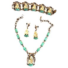 Happy Buddha Necklace Bracelet Earrings Designer Vintage Faux Pearls Faux Jade